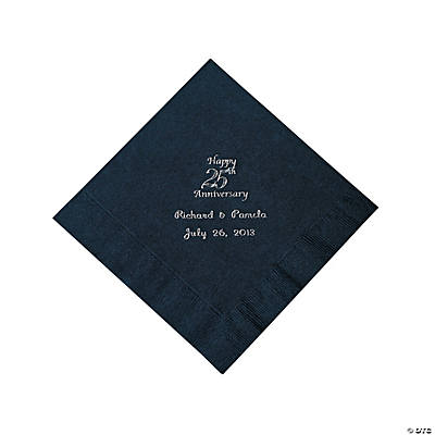 Personalized Silver And Black 25th Anniversary Luncheon Napkins