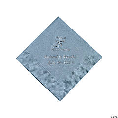 Personalized Silver Om Silver 25th Anniversary Beverage Napkins