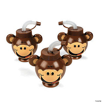 Beach Monkey Head-Shaped Cups With Lids & Straws
