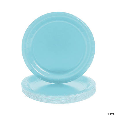 Round Light Blue Dinner Plates