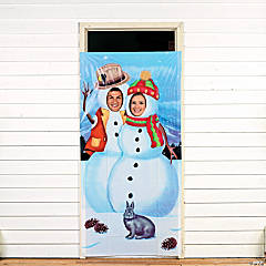 Snowman Couple Photo Door Banner