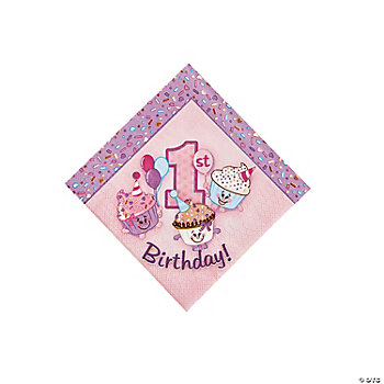1st Birthday Cupcake Beverage Napkins