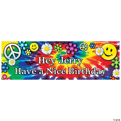 Personalized '60s Groovy Birthday Banner - Small
