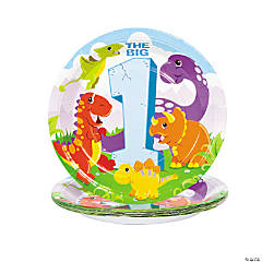 1st Dinosaur Birthday Dinner Plates