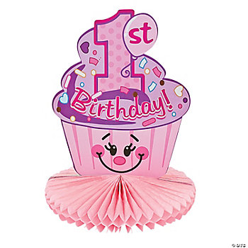"""1st Birthday"" Cupcake Centerpiece"