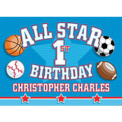 "Personalized ""All Star 1st Birthday"" Yard Sign"