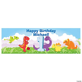 Personalized 1st Dinosaur Birthday Banner - Small