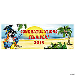 Personalized Tropical Graduation Banner - Large