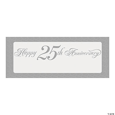"Personalized Two Hearts ""Happy 25th Anniversary"" Banner - Small"