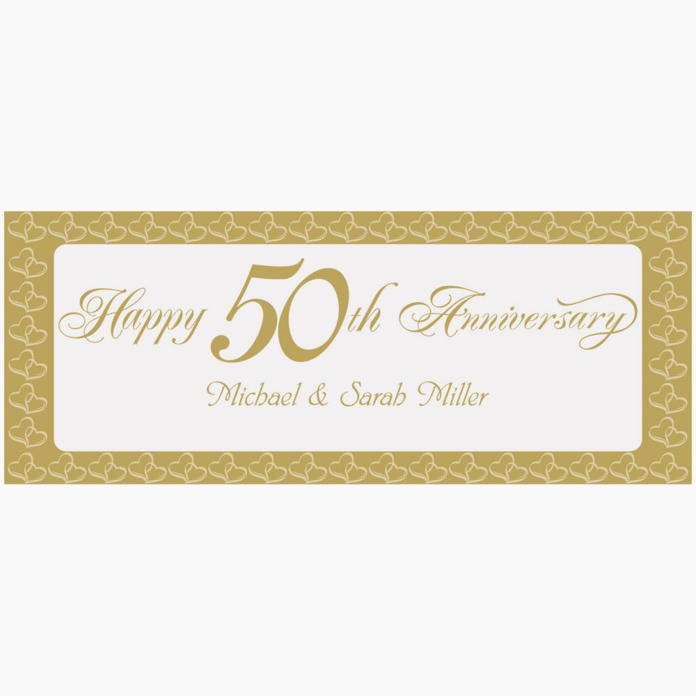 Personalized Two Hearts Happy 50th Anniversary Banner