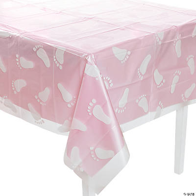 Clear Footprint Baby Shower Tablecloth