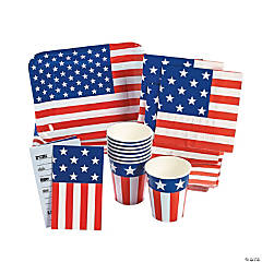 Patriotic Flag-Shaped Tableware & Invitations