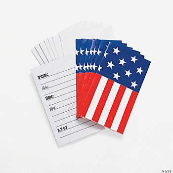 Patriotic Flag-Shaped Invitations