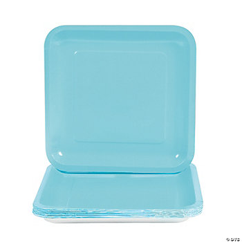 Square Dinner Plates - Light Blue
