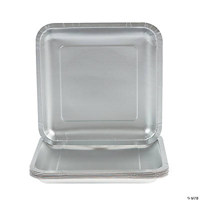 Square Dinner Plates - Metallic Silver