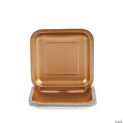Metallic Gold Square Dessert Plates