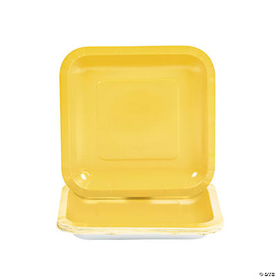 Yellow Square Dessert Plates