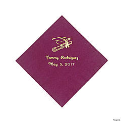 Personalized Gold Burgundy Graduation Beverage Napkins