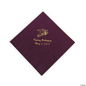 50 Personalized Gold Burgundy Graduation Luncheon Napkins