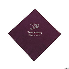 50 Personalized Silver Burgundy Graduation Luncheon Napkins