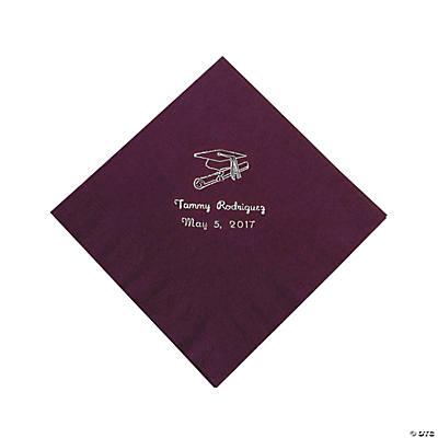 Personalized Silver Burgundy Graduation Luncheon Napkins