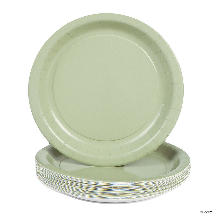 24 Solid Color Paper Plates - Sage Green. 7   sc 1 st  Oriental Trading & 24 Solid Color Paper Plates - Sage Green. 7