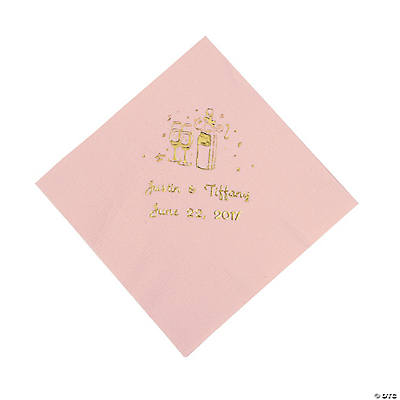 Champagne Personalized Beverage Napkins - Pink with Gold Print