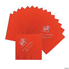 Champagne Red Personalized Beverage Napkins with Silver Print