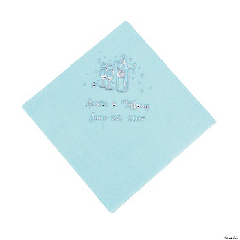 Champagne Beverage Napkins - Light Blue