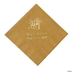 Champagne Gold Personalized Beverage Napkins with Gold Print