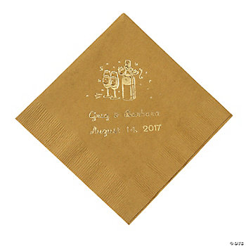 50 Personalized Champagne Gold Beverage Napkins