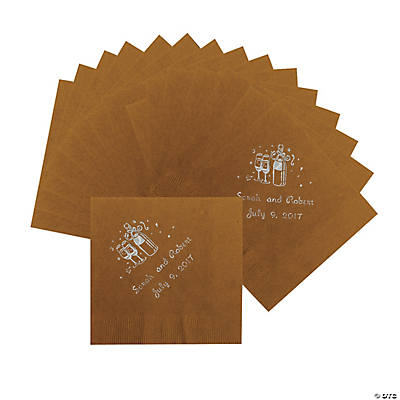 Champagne Gold Personalized Beverage Napkins with Silver Print