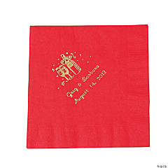 Champagne Red Personalized Luncheon Napkins with Gold Print