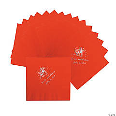 Champagne Red Personalized Luncheon Napkins with Silver Print