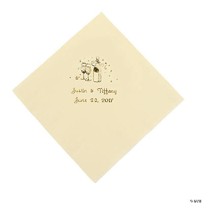 Champagne Personalized Luncheon Napkins - Ivory with Gold Print