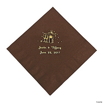 Champagne Luncheon Napkins - Chocolate