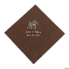 Champagne Personalized Luncheon Napkins - Chocolate with Silver Print