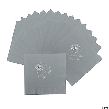 50 Personalized Champagne Silver Luncheon Napkins