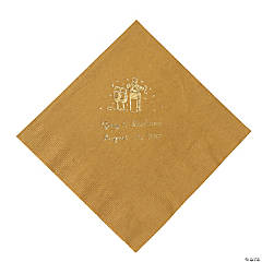 Champagne Gold Personalized Luncheon Napkins with Gold Print