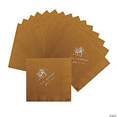 Champagne Gold Personalized Luncheon Napkins with Silver Print