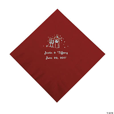 Champagne Personalized Luncheon Napkins - Burgundy with Silver Print