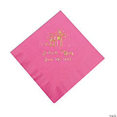 Champagne Personalized Beverage Napkins - Candy Pink with Gold Print