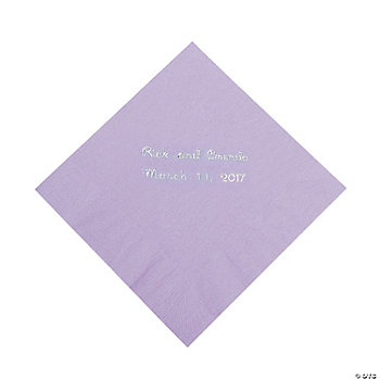 Personalized Lilac Beverage Napkins