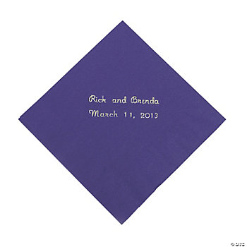 Personalized Purple Beverage Napkins
