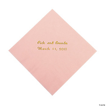 Personalized Pink Beverage Napkins
