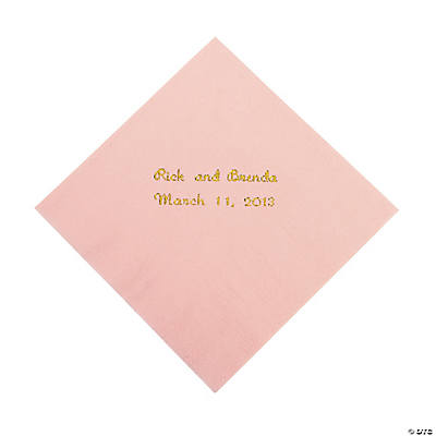 Pink Personalized Beverage Napkins with Gold Print
