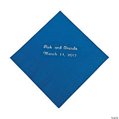 Blue Personalized Beverage Napkins with Silver Print