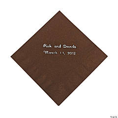 Chocolate Personalized Beverage Napkins with Silver Print
