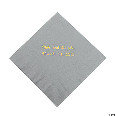 Silver Personalized Beverage Napkins with Gold Print