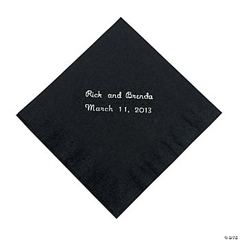 Personalized Black Beverage Napkins